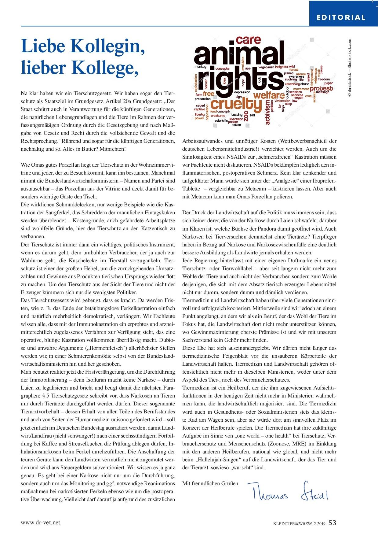Editorial aus Kleintiermedizin 02/19